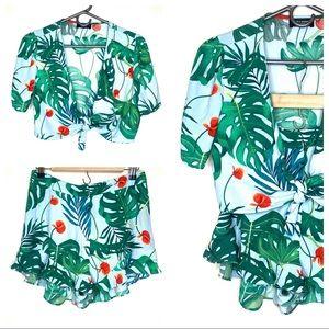 Zara Accessories Floral Shorts Top Set M/L